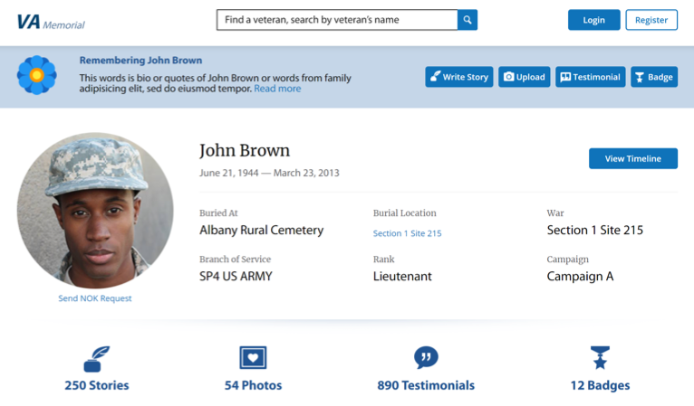 A veteran's profile page from the prototype site developed with the help of VA proposal funding.